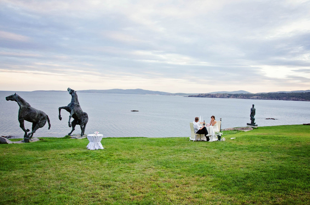Wedding couple enjoying their scenic view at art complex Anel, Sozopol