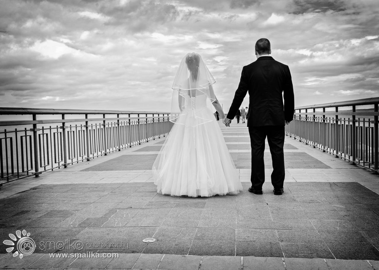 Wedding couple walking together