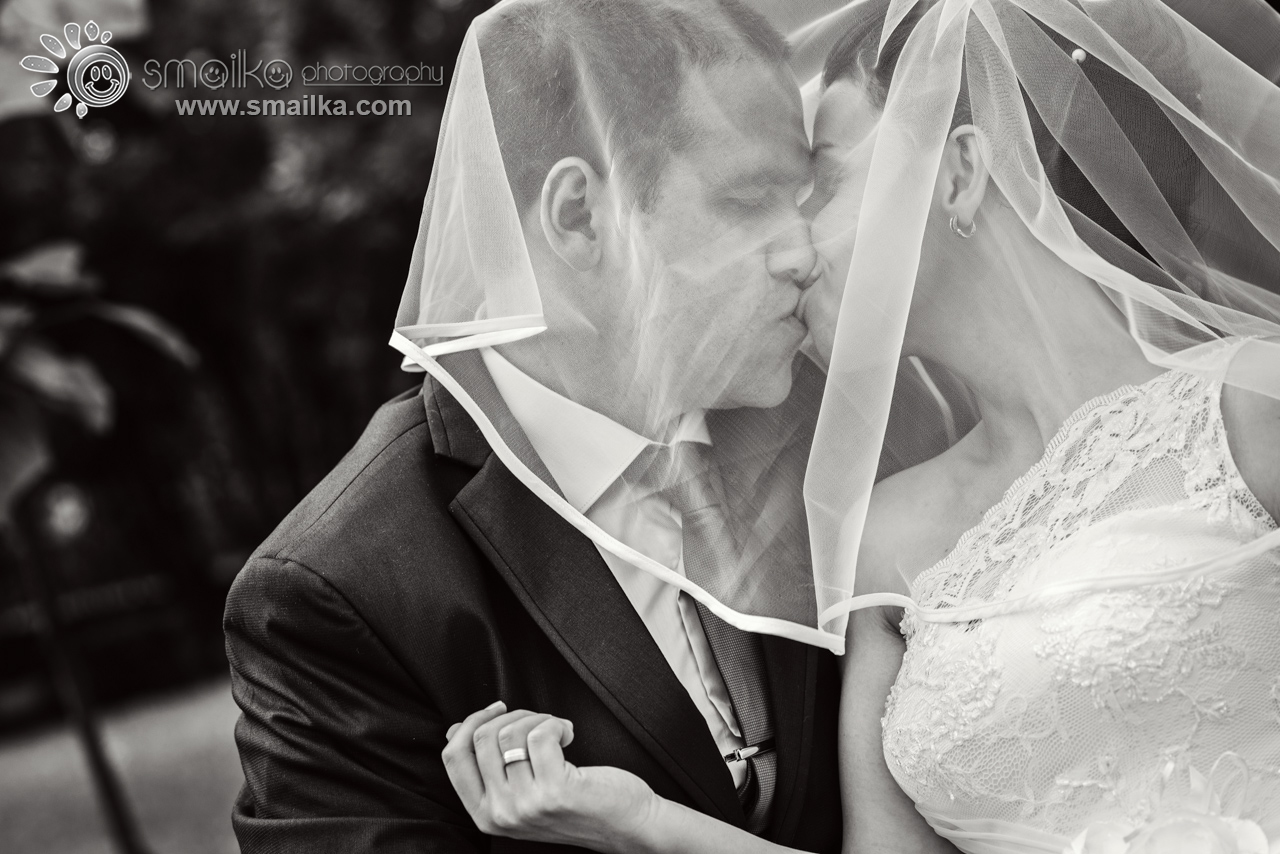 Photography of bride and groom under the veil