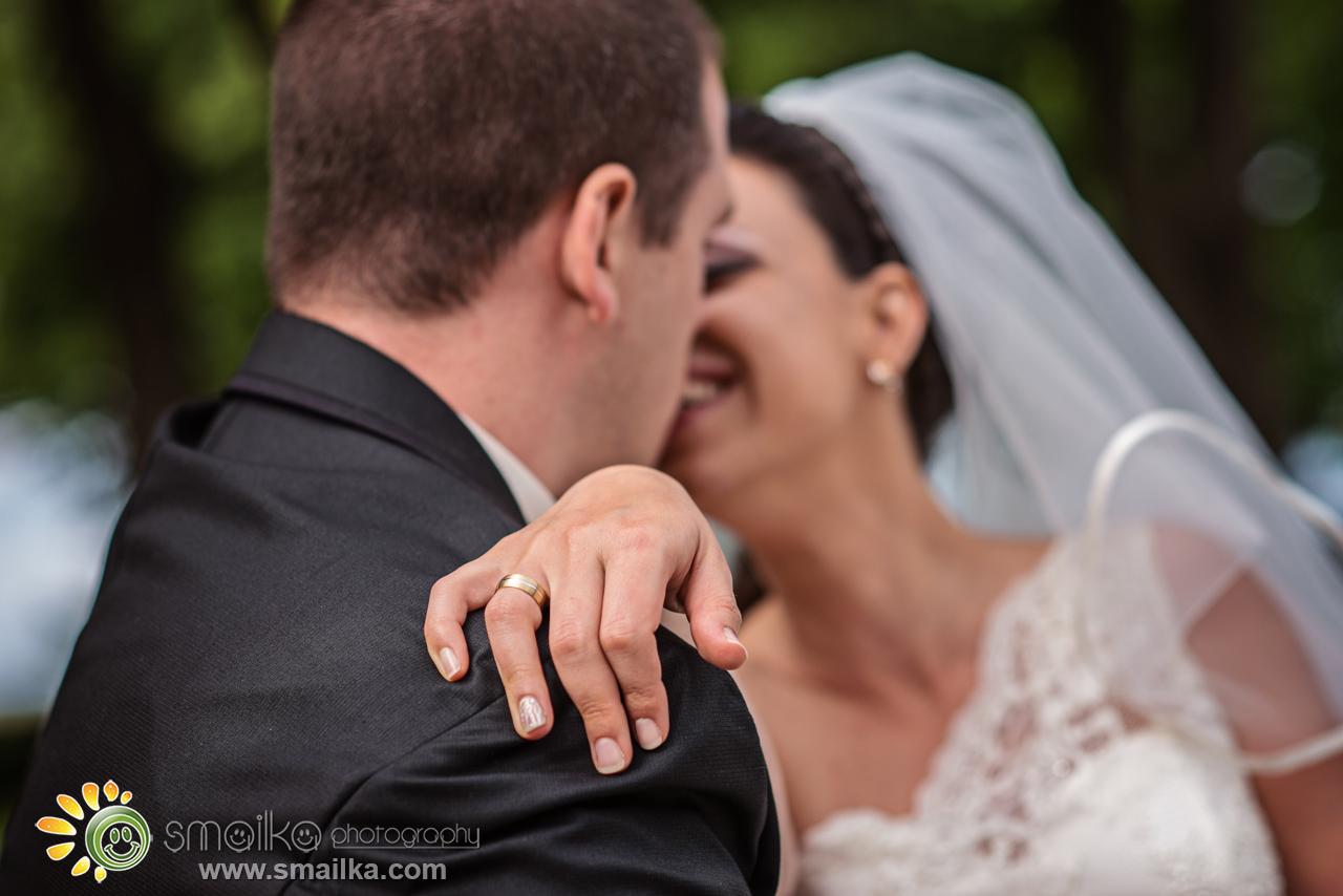 Wedding photosession bride groom smiling