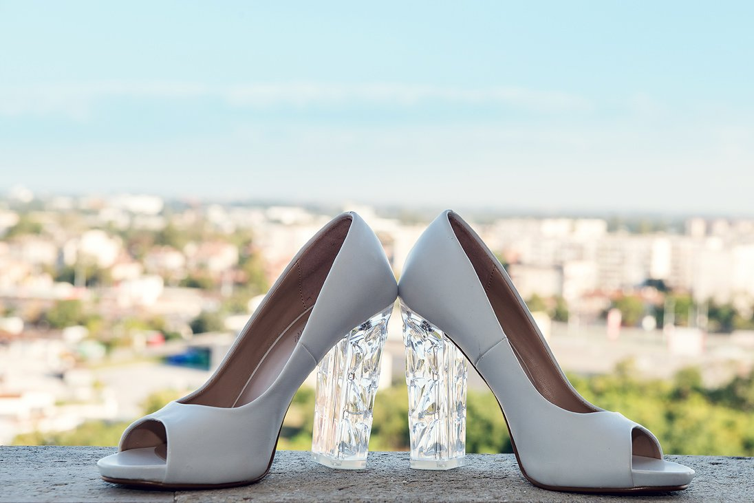 Bride wedding shoes of glass