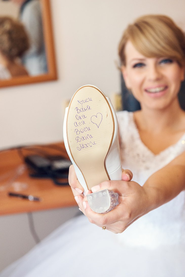 Wedding shoes of the bride decorated