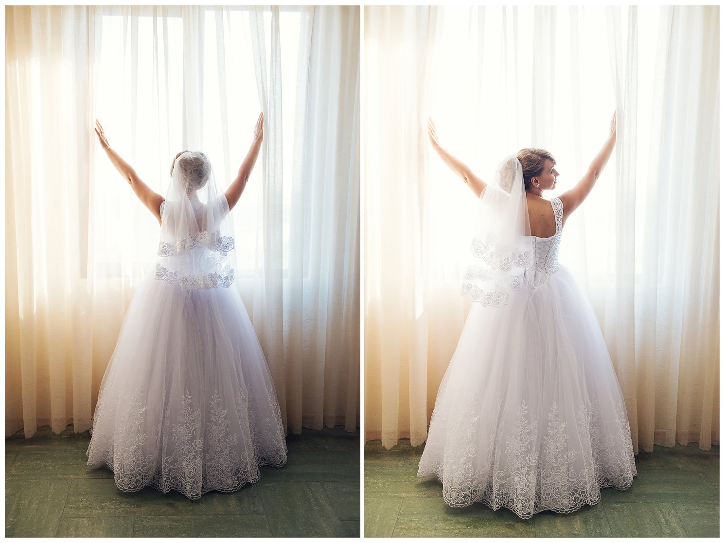 Bride in her wedding dress in front of a window