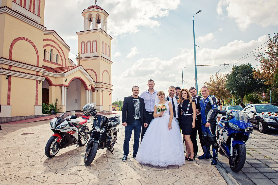 Bride and groom and motorcycles