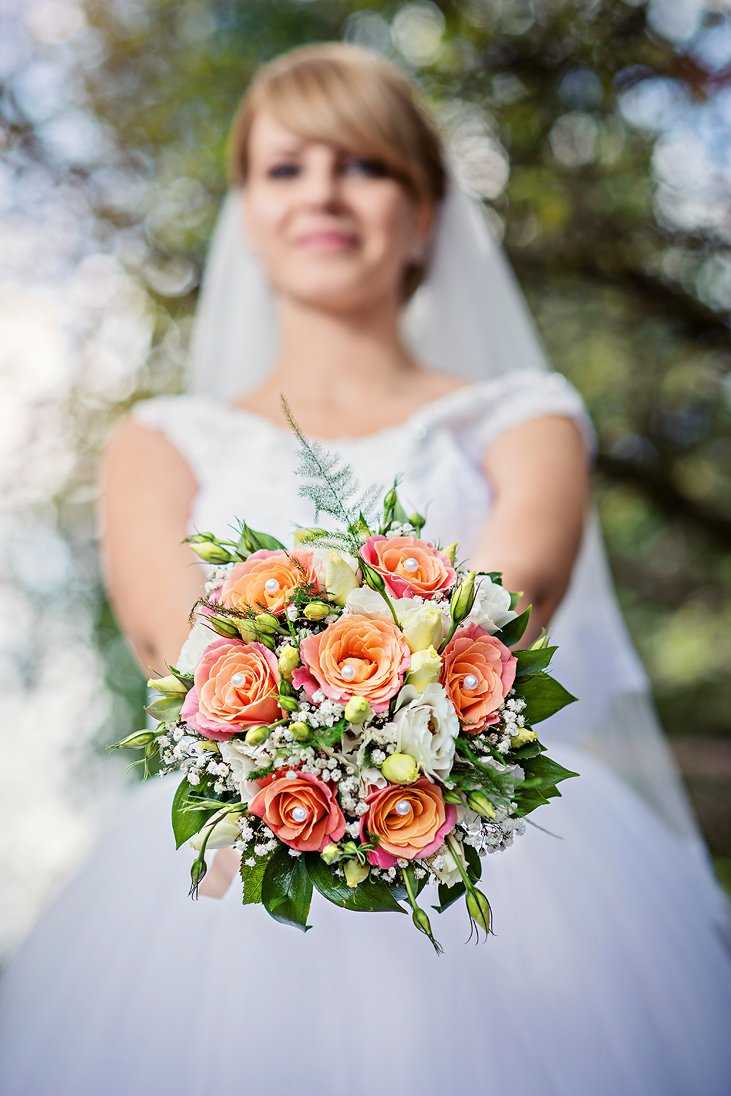 Bride and her wedding bouquet