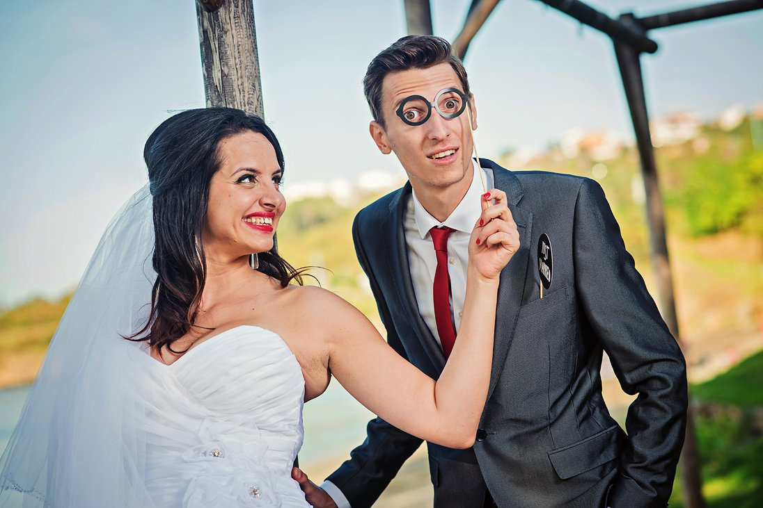 Wedding props glasses photosession bride and groom