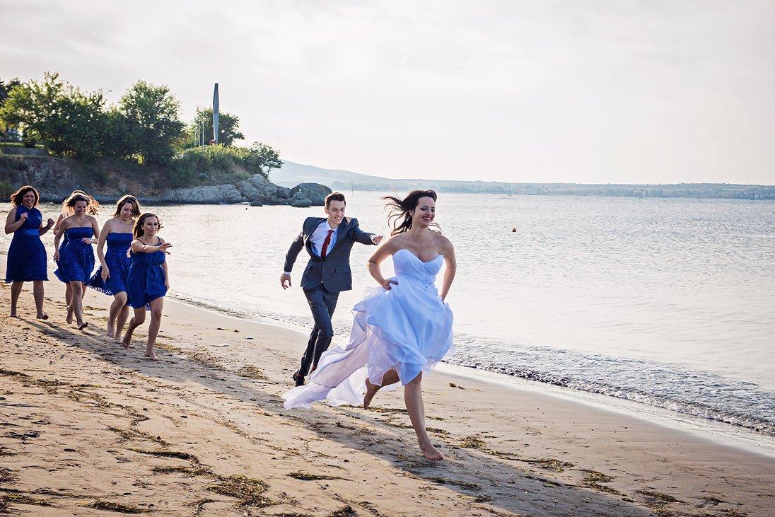 Bride running from the groom in Santa Marina, Bulgaria