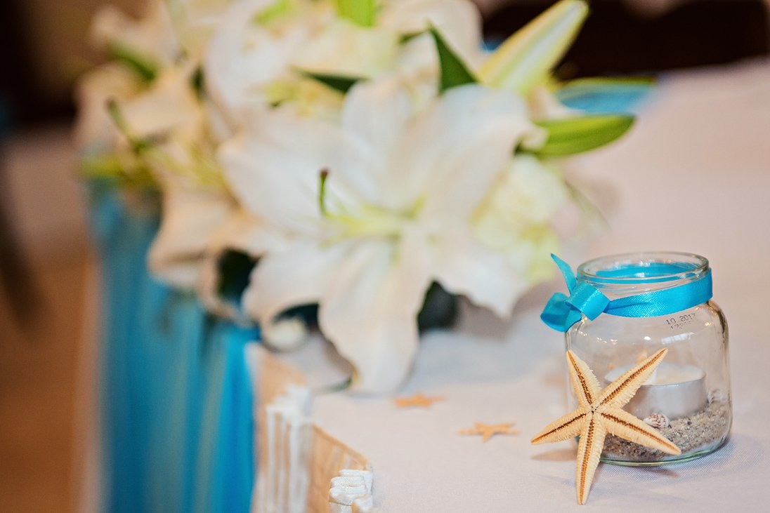 Wedding decoration in blue