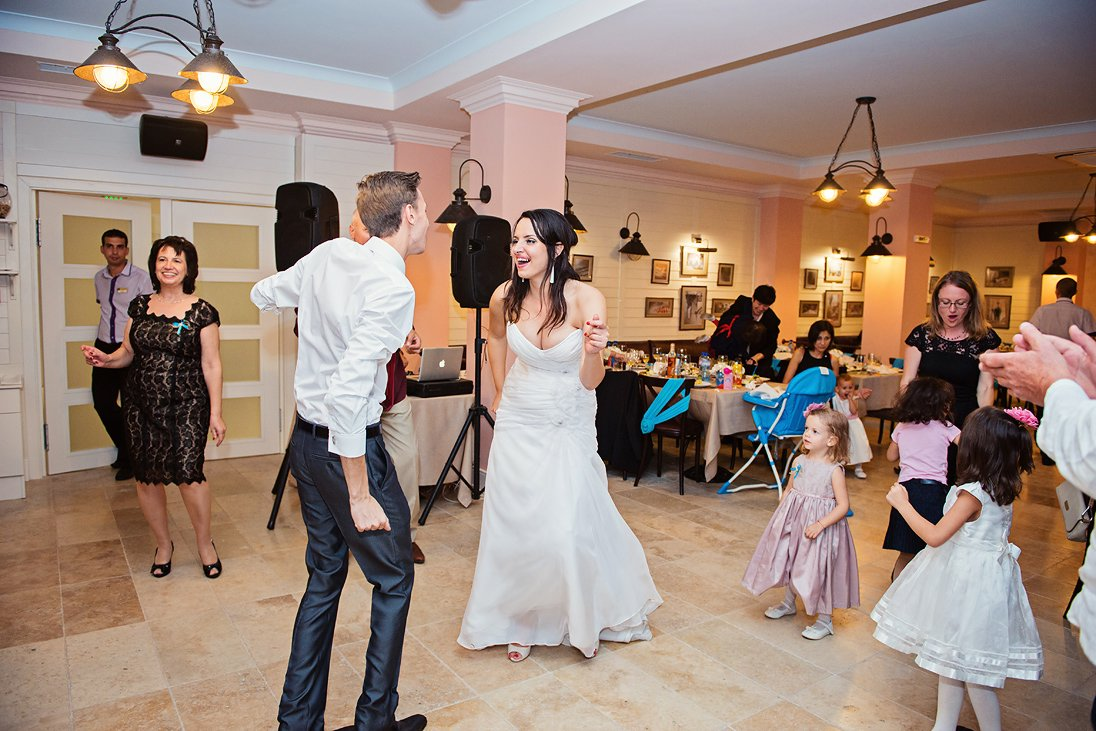 Bride and groom dancing in Santa Marina