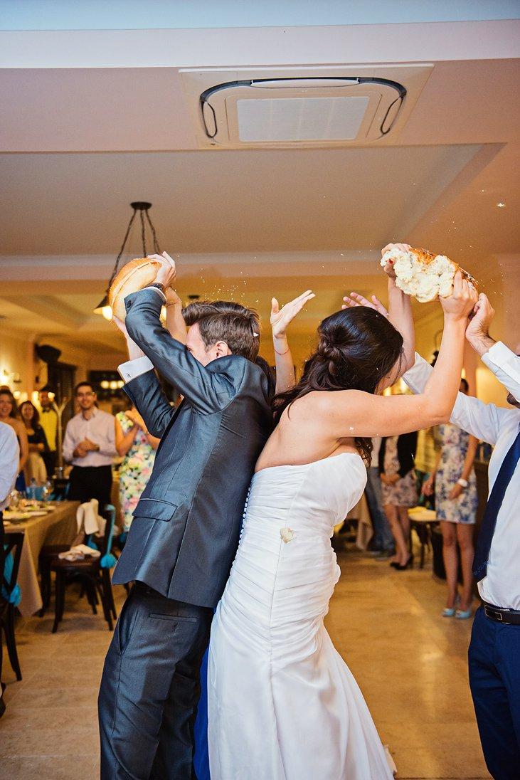 Breaking the bread on a wedding