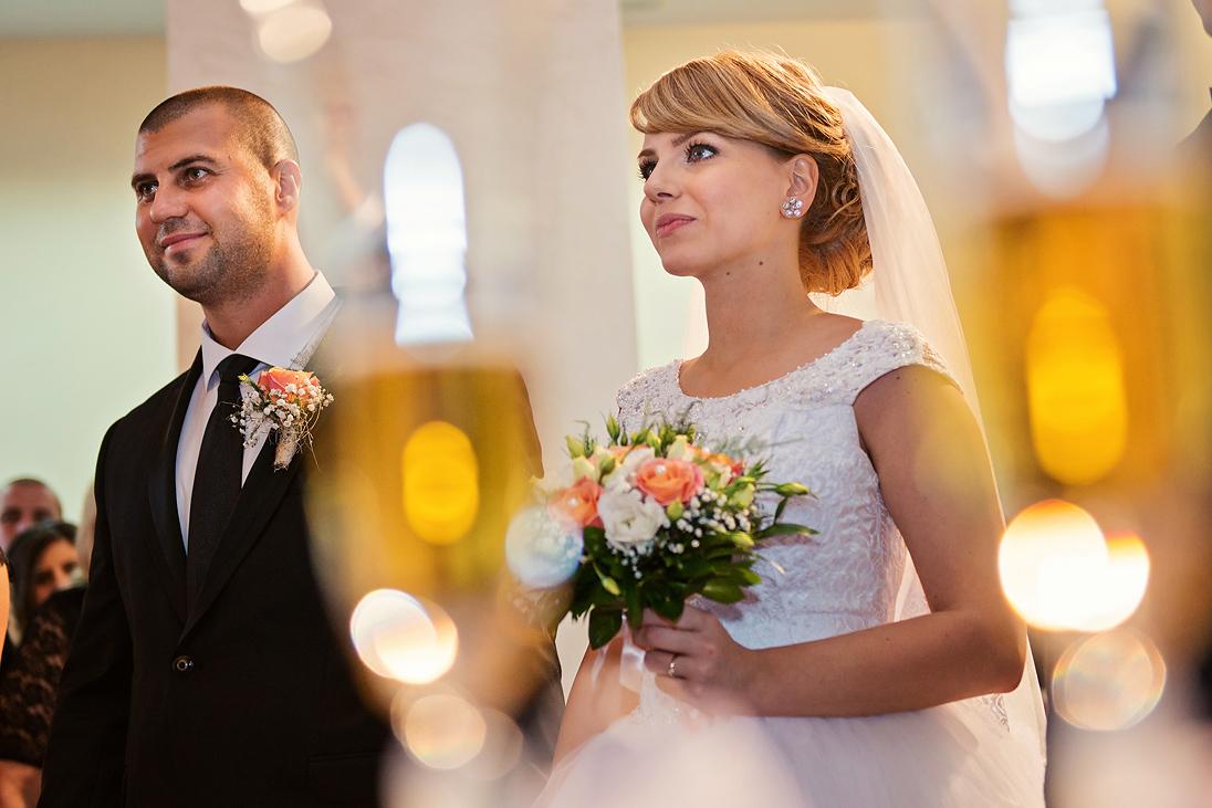 Bride, groom, the wedding bouquet, bokeh
