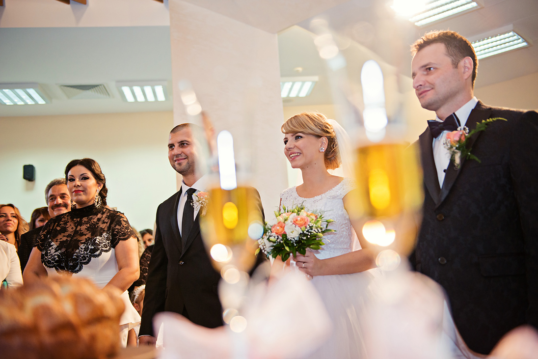 Wedding couple and best men