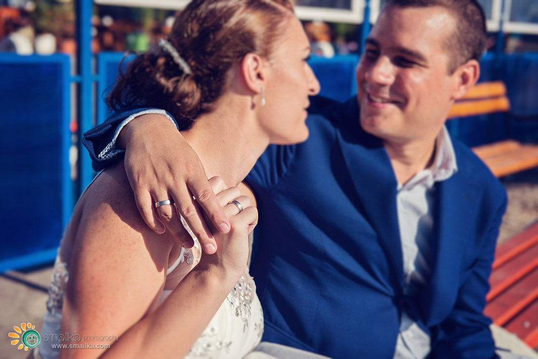 Wedding couple smiling portrait