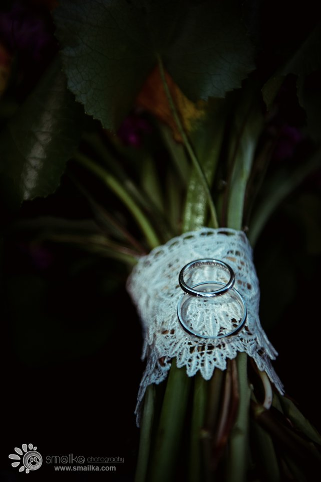 Photo of wedding rings on bouquet