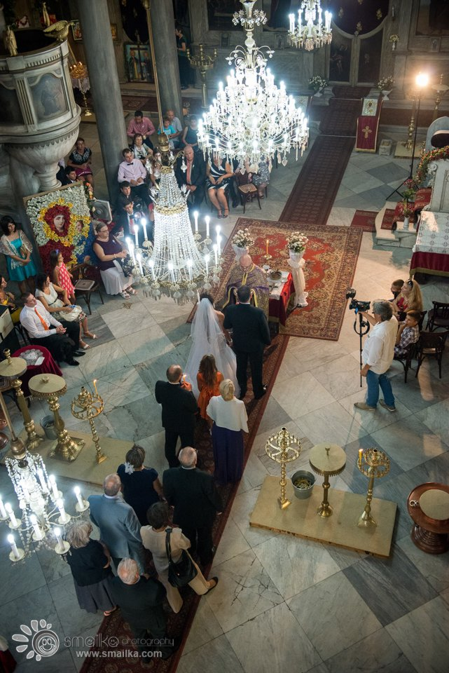 Panoramic view of a wedding church ceremony in Sozopol, Bulgaria