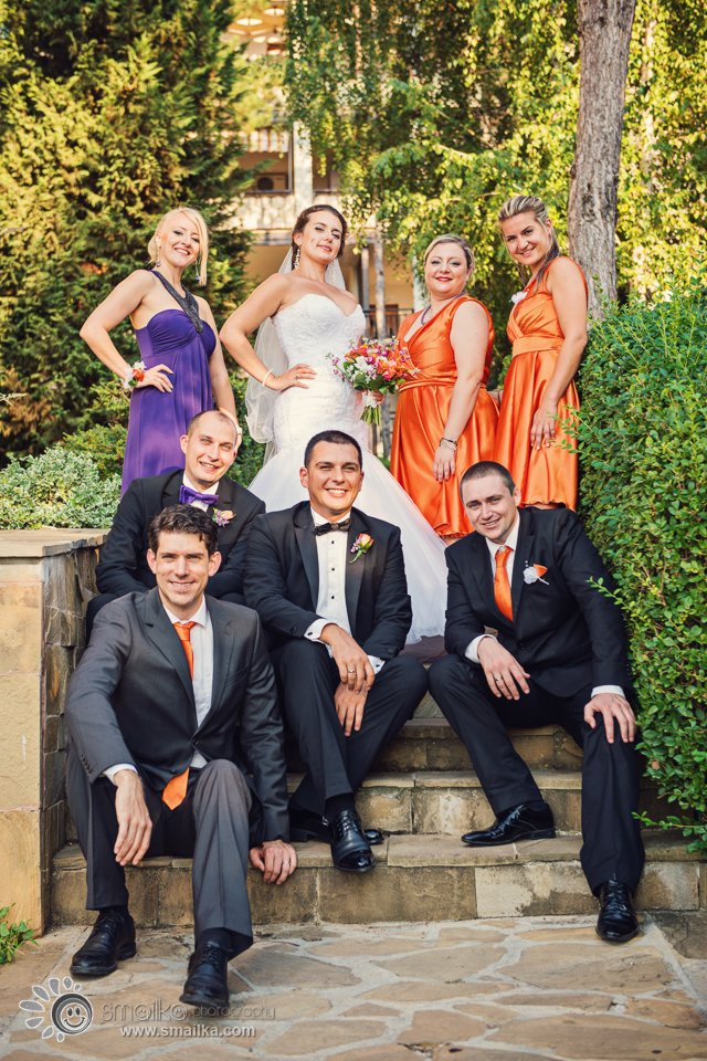 Wedding photography couple and friends happy portrait