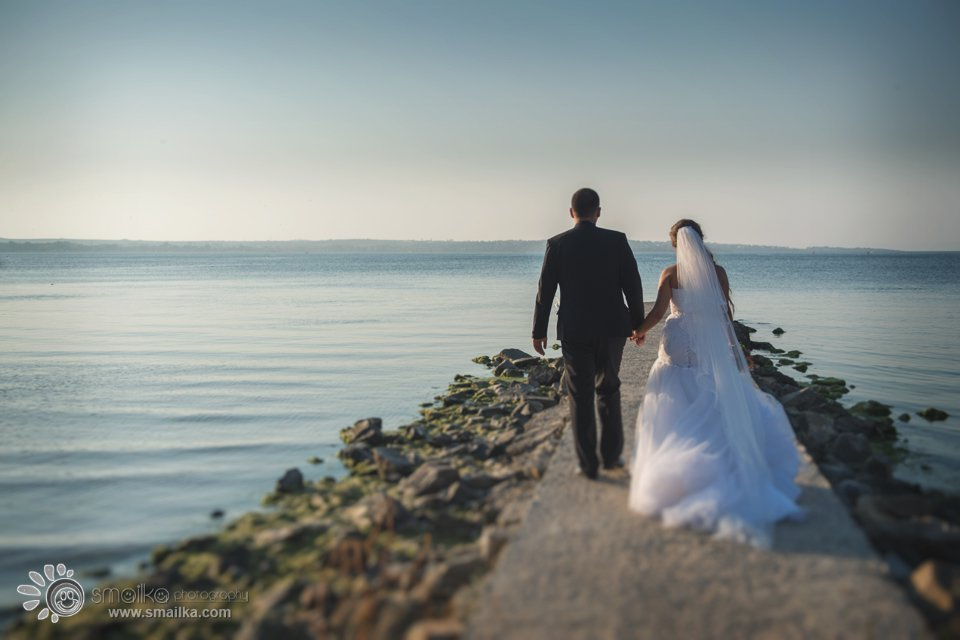 Wedding photosession Sozopol couple walking together