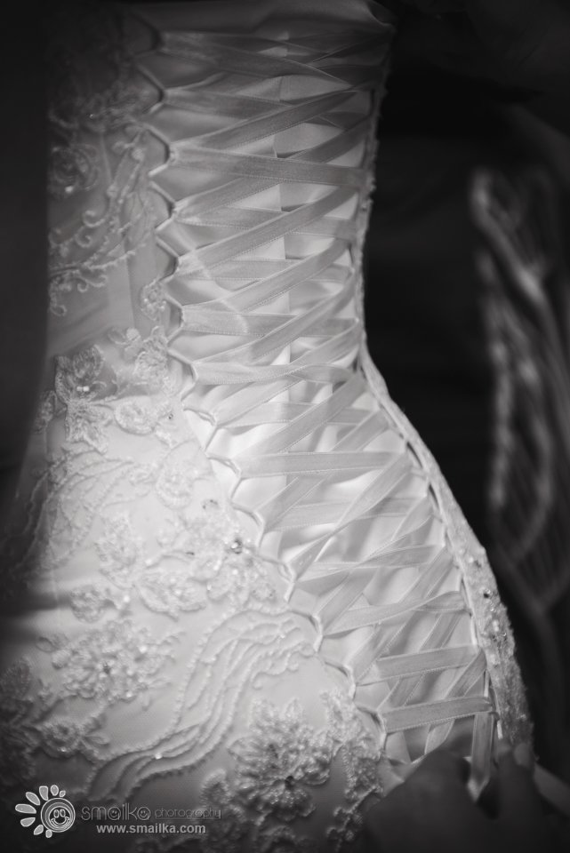 A balck and white photo of a wedding dress