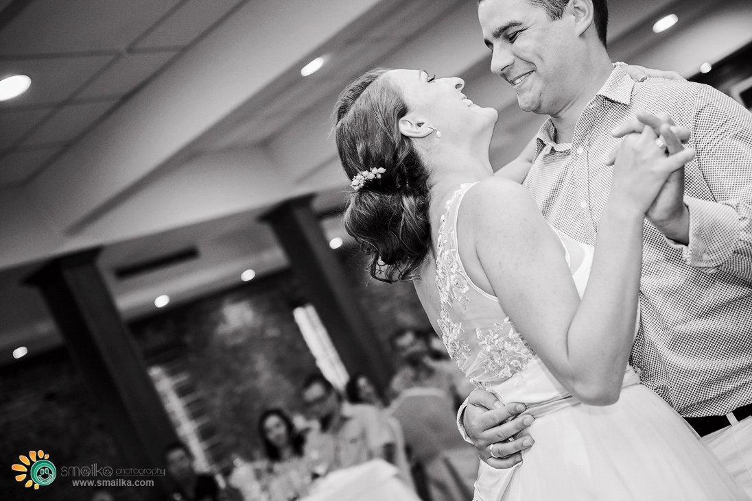 Wedding couple dancing black and white photo