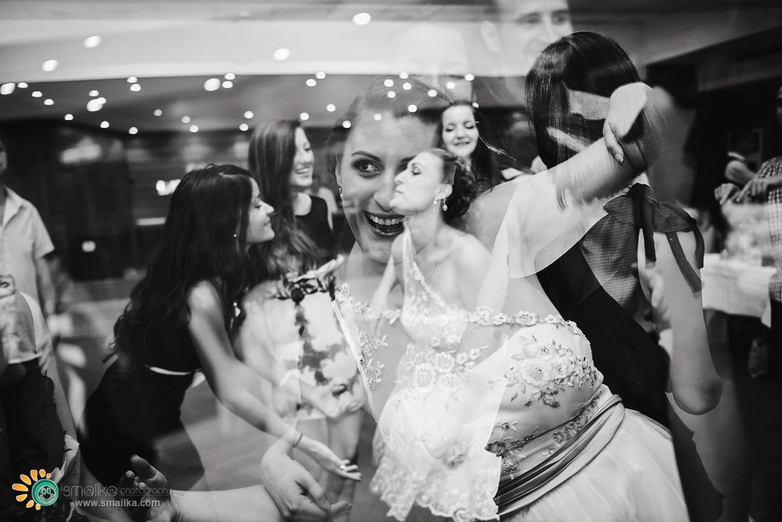 Wedding party guests having fun multiple exposure