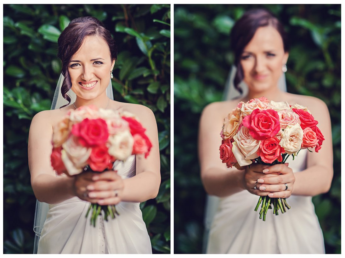 Two photos of Kalina bride is holding the wedding bouquet