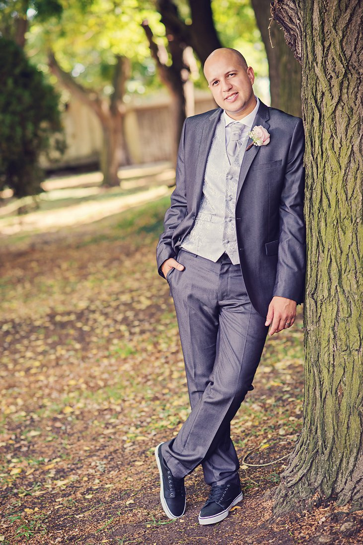 Outdoor portrait of a groom