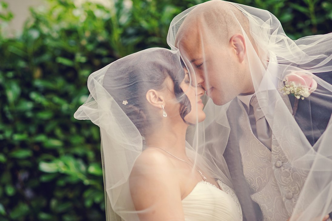 Wedding couple close-up portrait under the veil