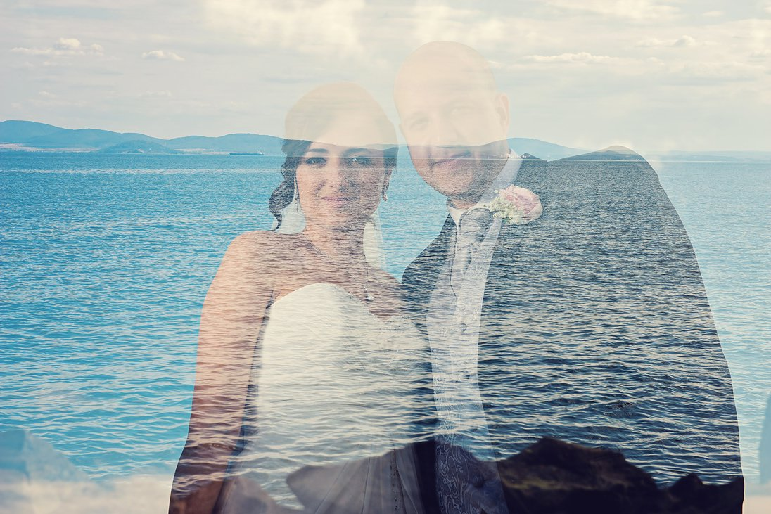 Bride and groom photography double exposure