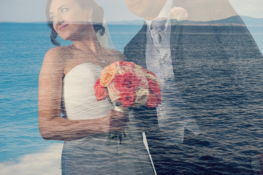 Bride and groom photo in double exposure mode
