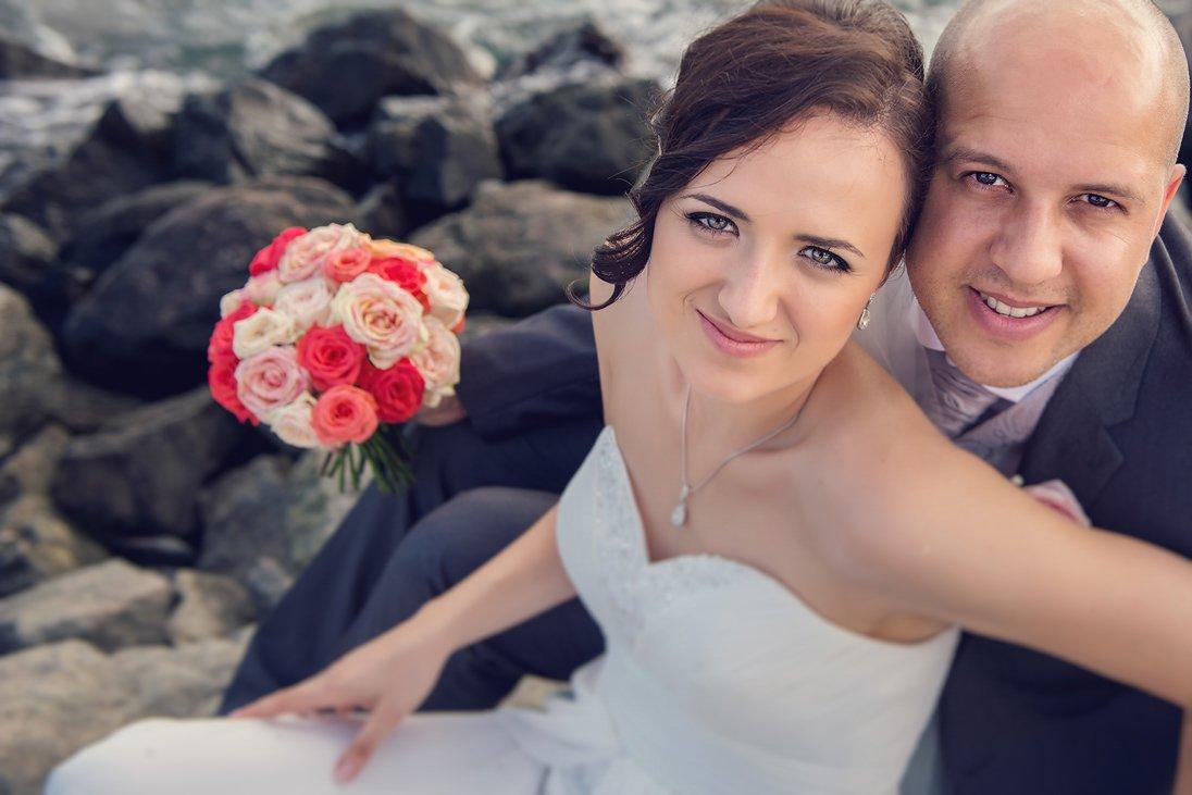 Wedding couple portrait near the sea