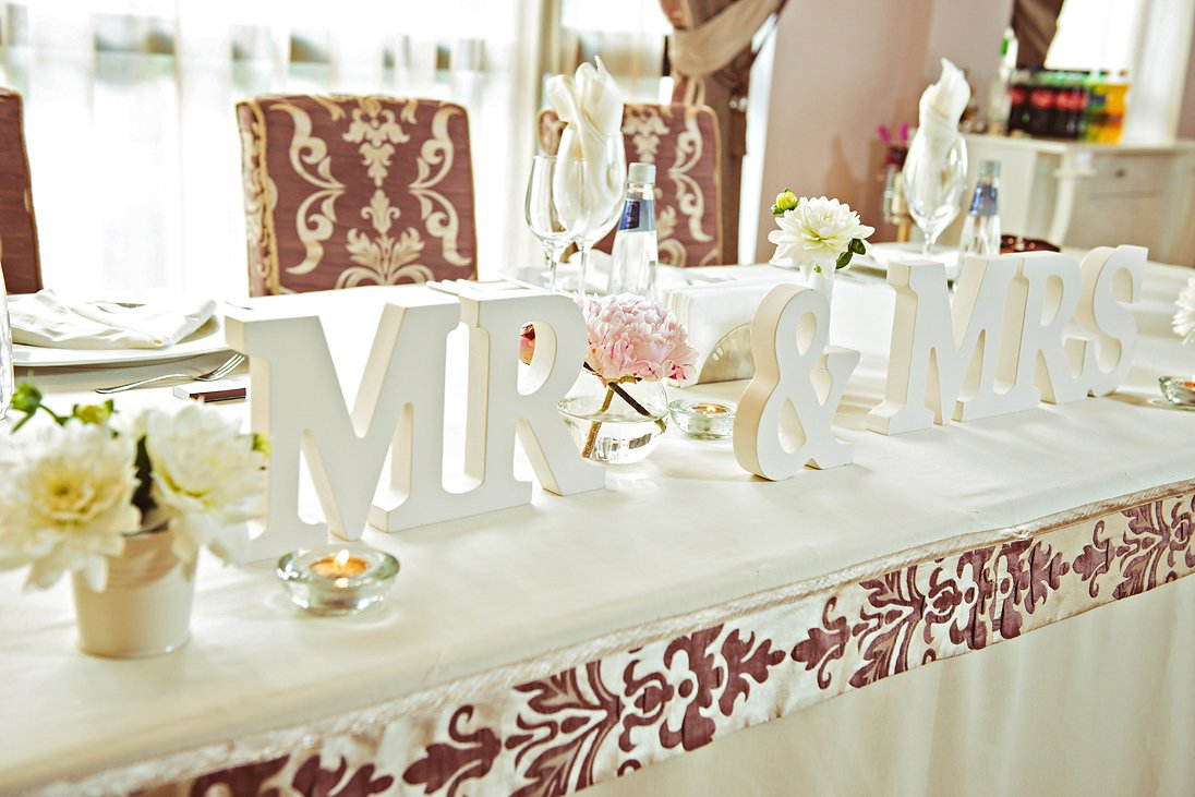 Wedding decorations on the reception