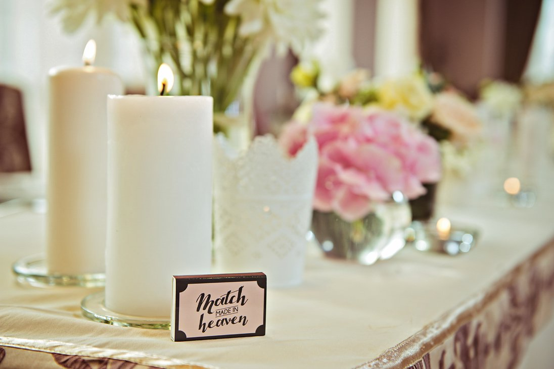 Wedding reception decorations and details candles and matches