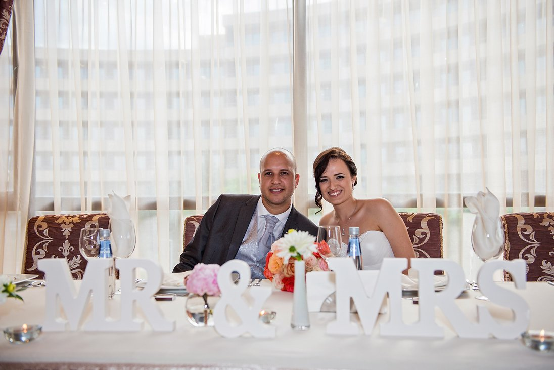 Kalina and Peter on their wedding couple table