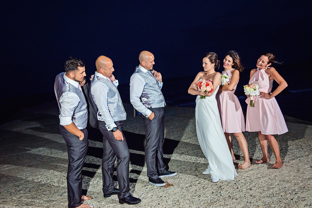 Funny wedding photo session