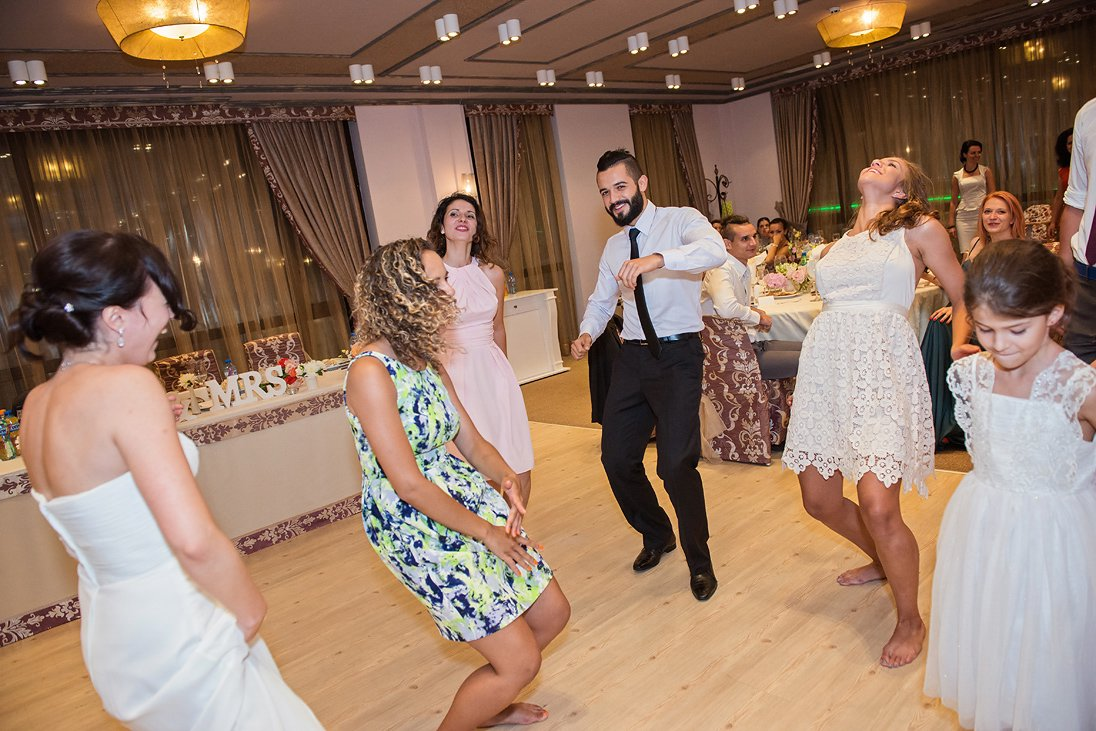 Wedding celebration guests dancing