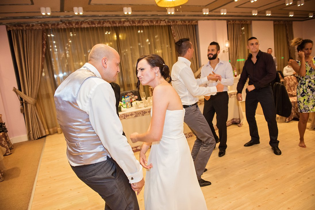 Wedding couple dancing on the floor