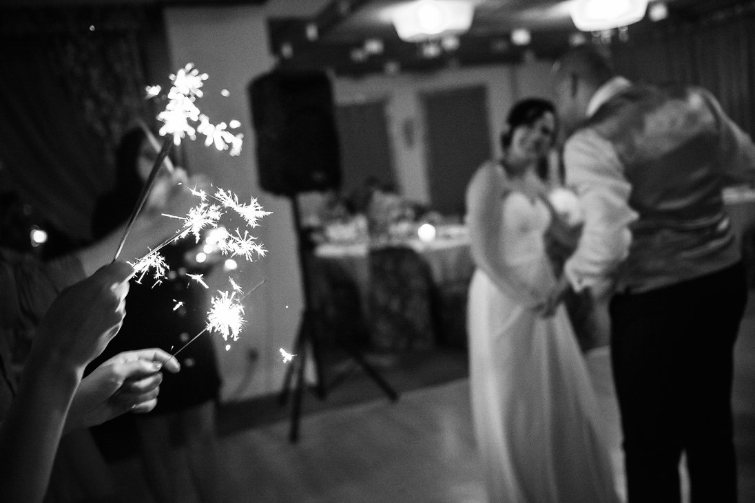 Sparkling lights wedding couple dance