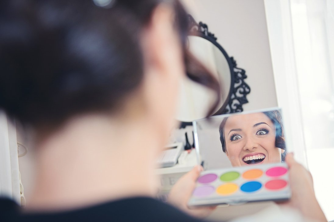 Bride is happy with the make up