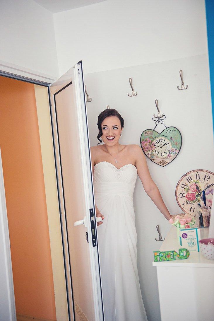 Bride is welcoming the groom