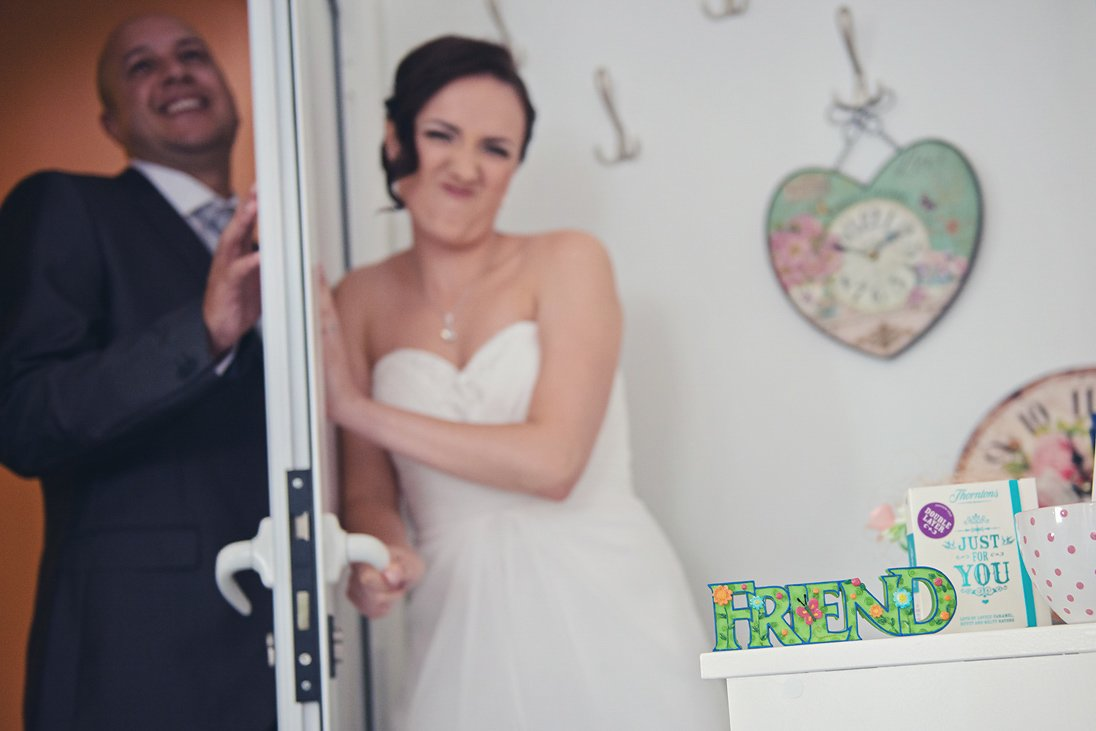 Bride is not letting the groom in her room