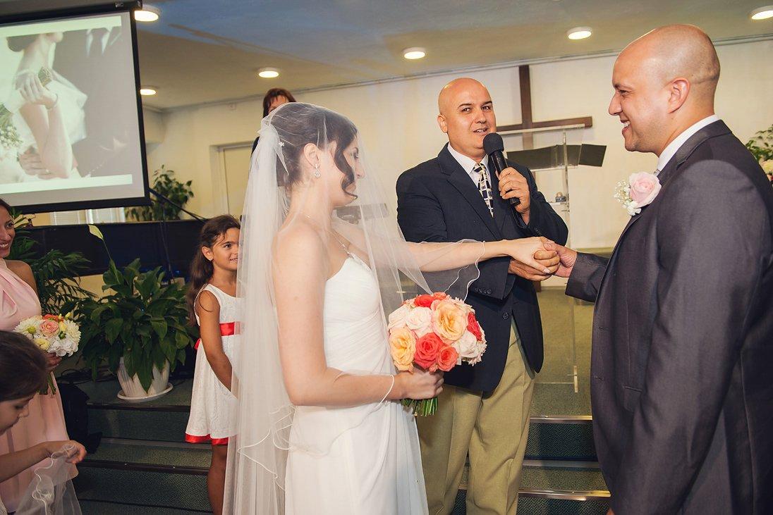 Church wedding ceremony the newlyweds