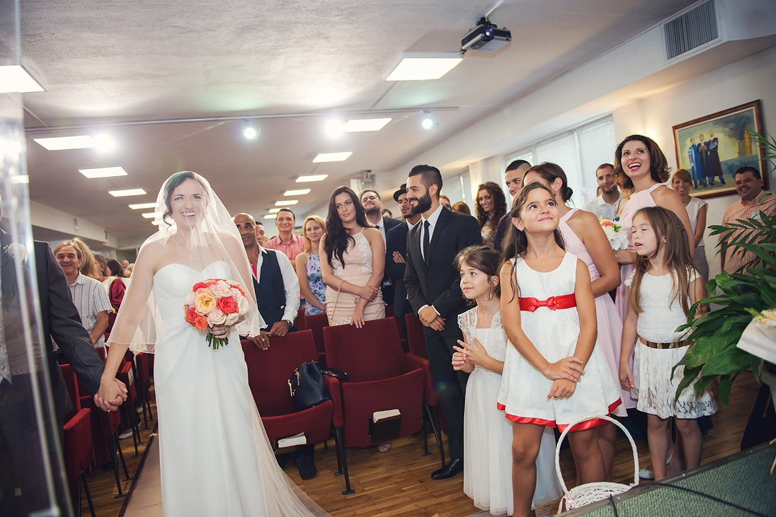 Church wedding ceremony in Burgas, Bride and the little brides