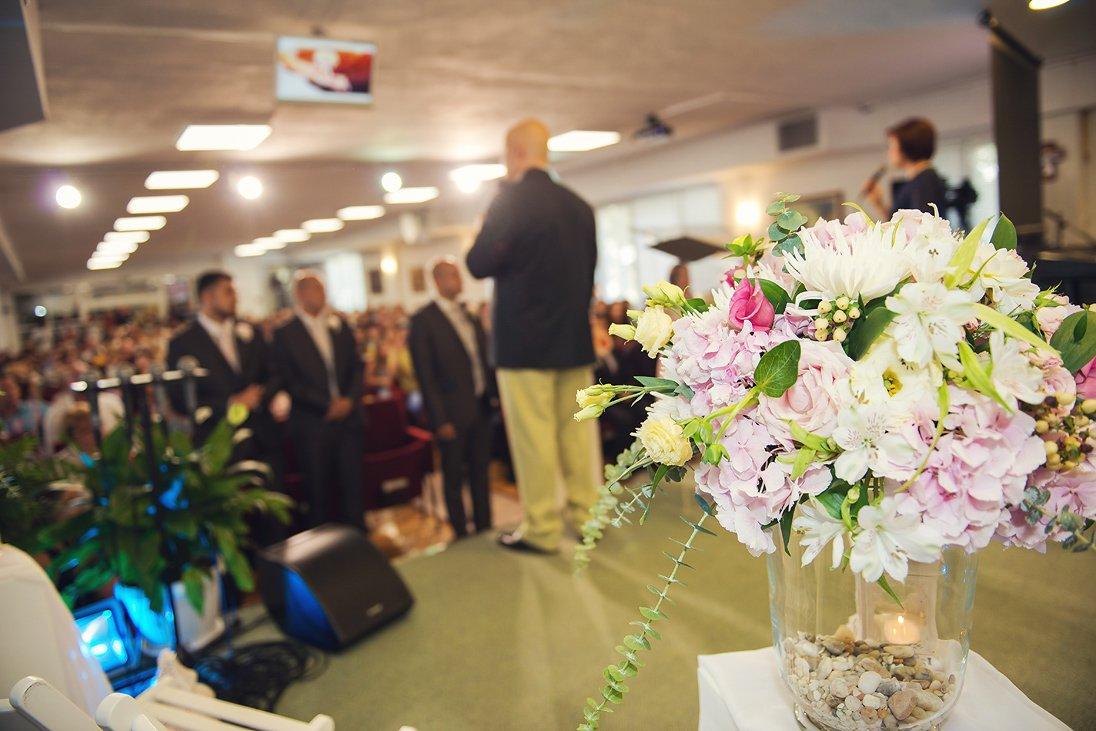 Church wedding ceremony in Burgas, Bulgaria, wedding bouquet