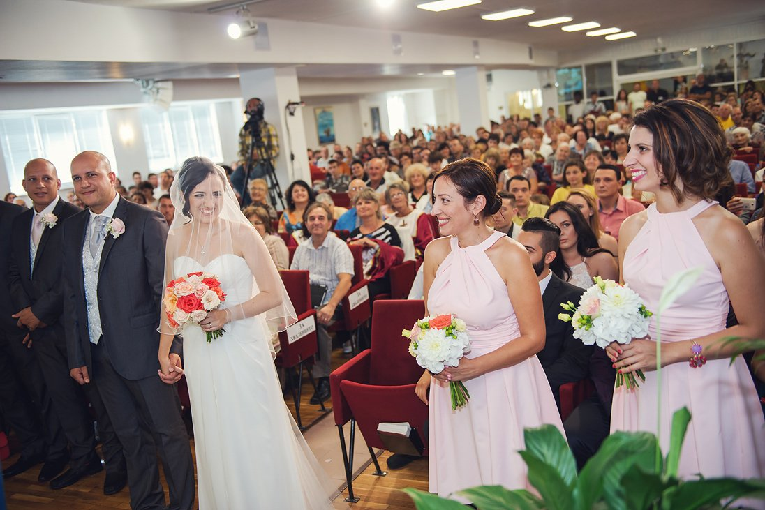 Church wedding ceremony in Burgas, bride, groom and maids of honor