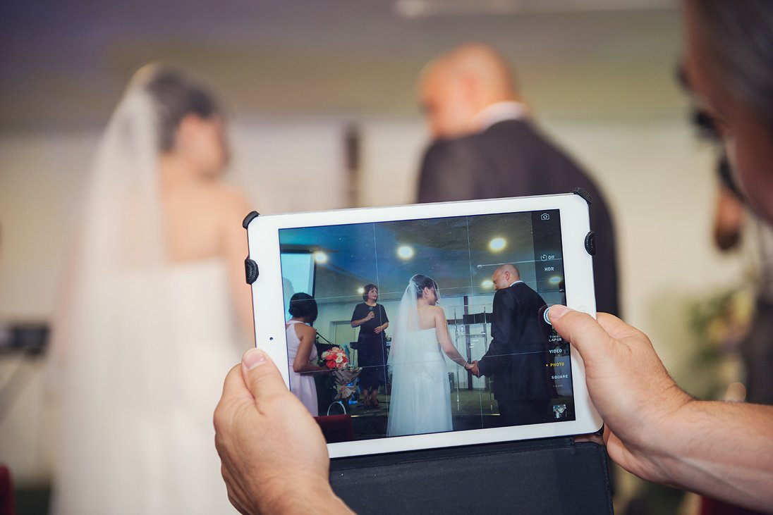 Tablet photography of a wedding