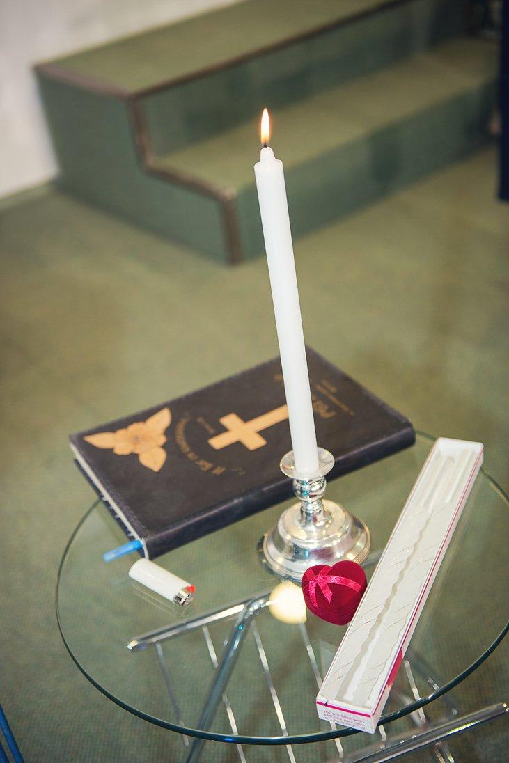 Wedding symbols of faith - candles, Bible