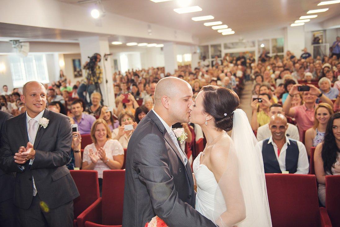 Kalina and Peter first wedding kiss