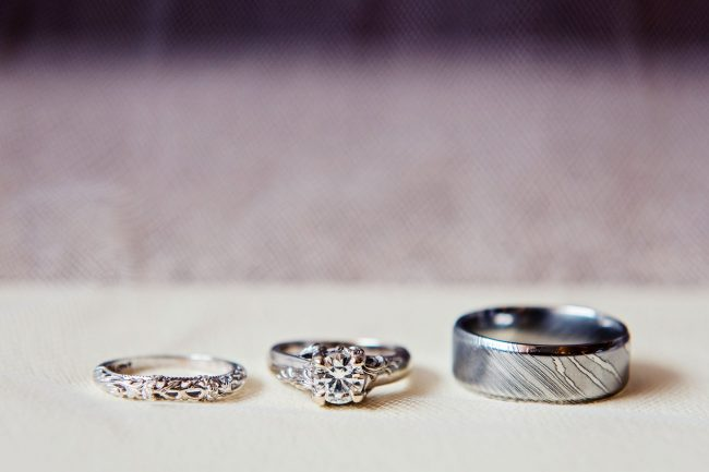 Wedding and Engagement Rings in a Row