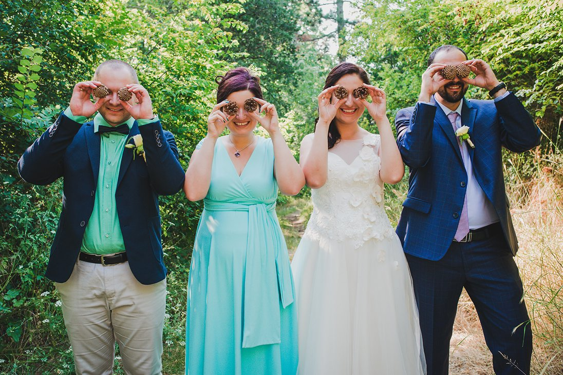 A funny photo of a wedding couple and their friends