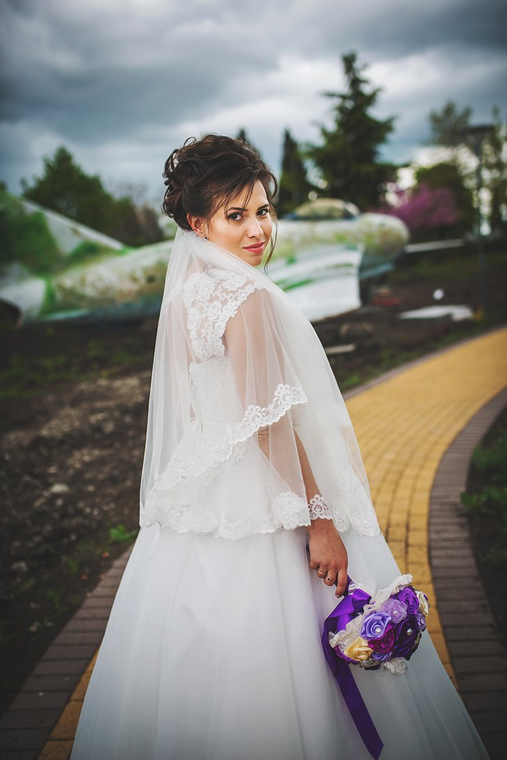Airplanes wedding photosession of a bride in Bulgaria